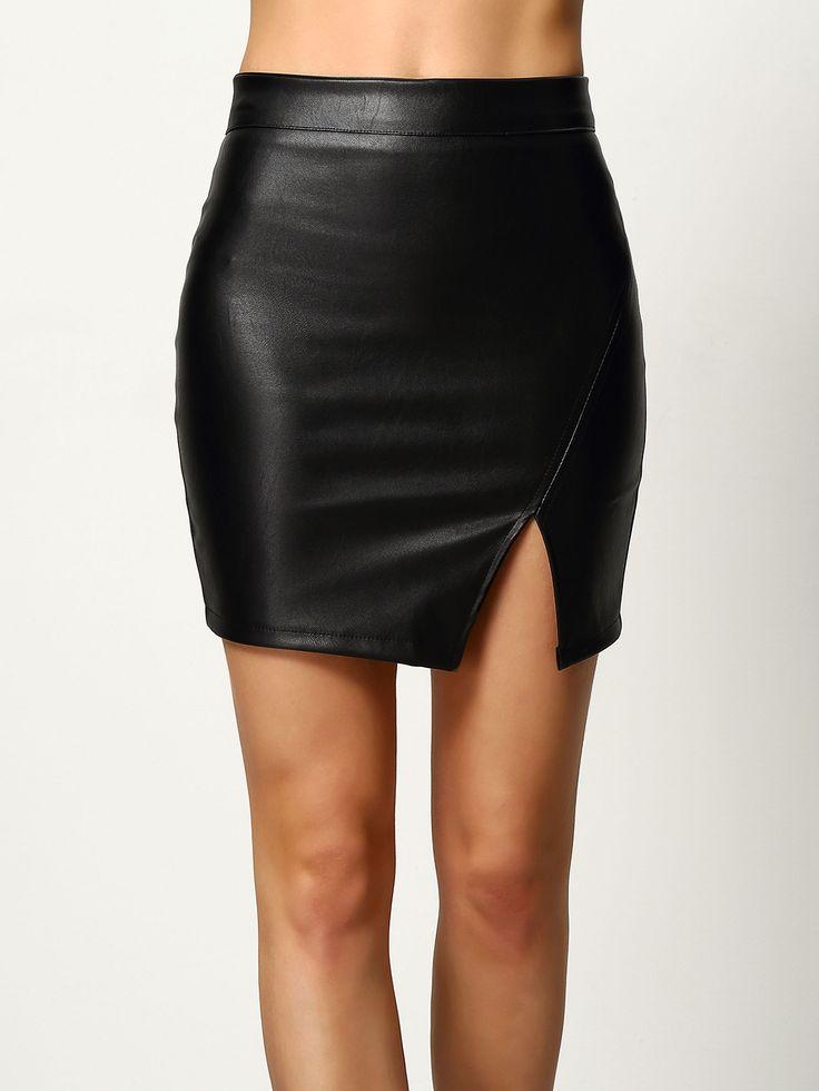 Black+Split+Bodycon+PU+Skirt+19.00