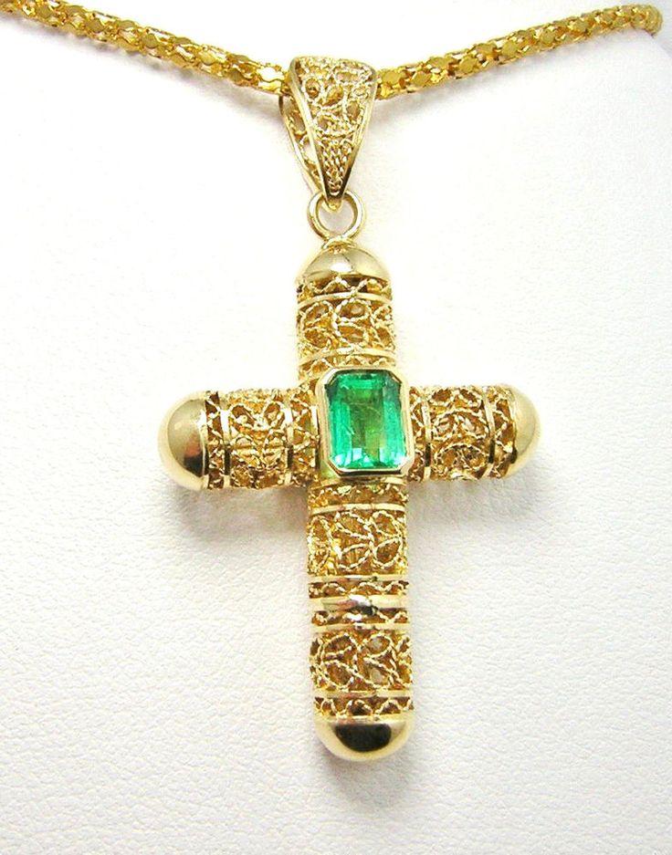 Colombian Emerald Filigree Cross Pendant Square Shape .85 Cts 18K Gold Fine Muzo #HandmadeByCiCeRi #CrossPendant