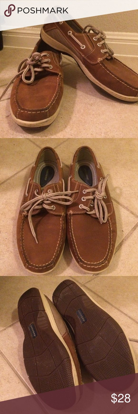 Men's Docker boat shoes.  Worn once, inside. My son's foot won't stop growing!! Dockers Shoes Flats & Loafers