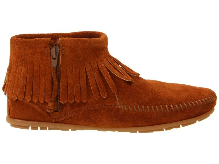 Minnetonka Concho/Feather Side Zip Boot Women's Pull-on Boots Brown Suede