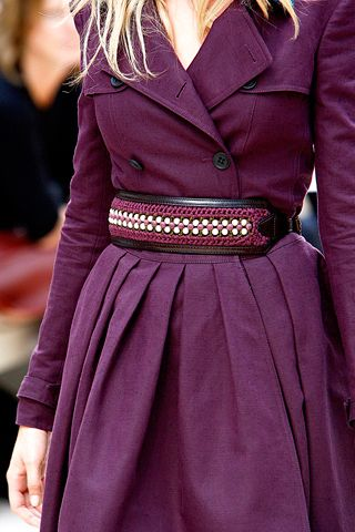 burberry trench coat in deep plum color + embellished obi style belt