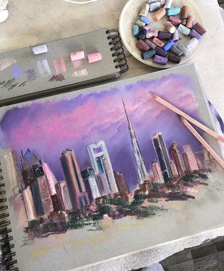 "227 Likes, 8 Comments - Pastel Watercolor (@bonbonarts) on Instagram: ""А меня тянет на море пока безвылазно в Москве, но мечтать никто не запрещает))) референс фото…"""
