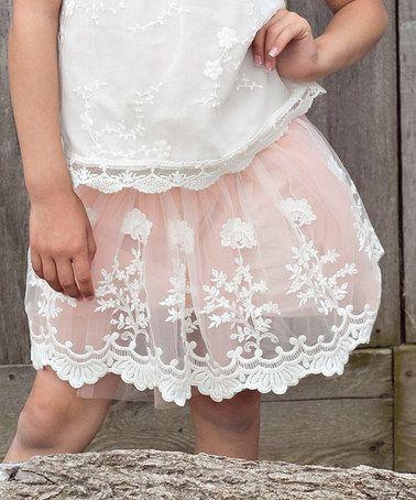 Pink & White Lace Skirt - Infant, Toddler & Girls #zulily #zulilyfinds