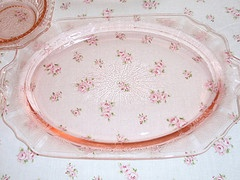 Pink depression glass I have these in Green