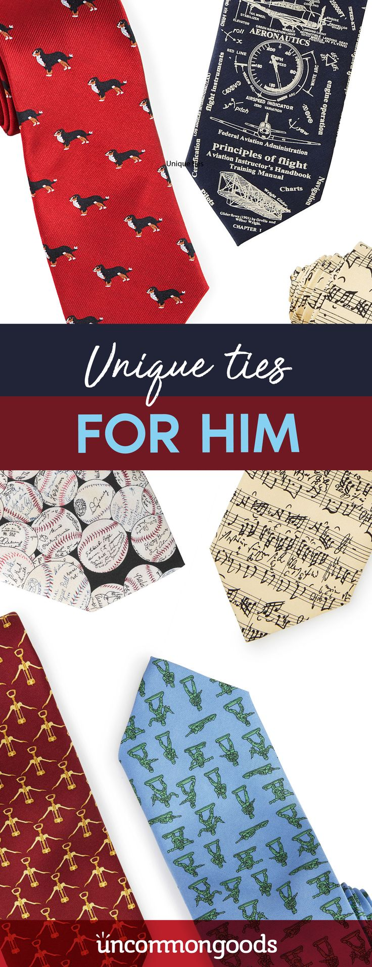 Find bold, funny ties, unique ties and unusual ties for big personalities at UncommonGoods.