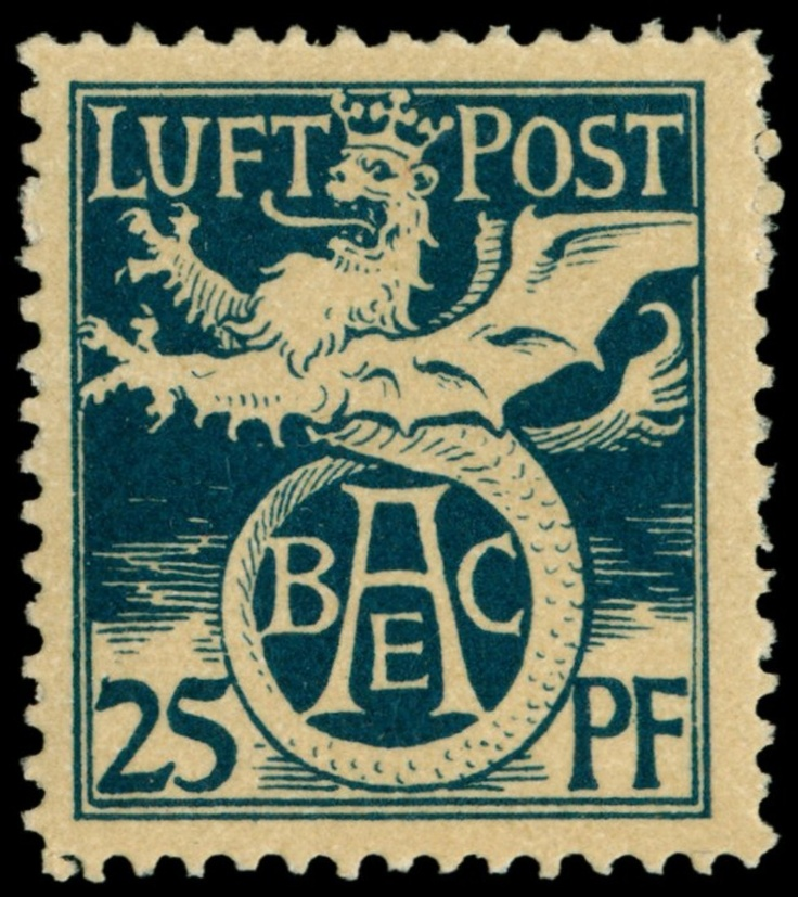 Old German States Bavaria Semi-official airmail stamp: 1912, Michel no. F I unused, clean trace or rest of a hinge, in perfect condition, expertized Pfenninger with Tiefstsignatur, Michel 200,- Euro  Dealer Schwanke GmbH  Auction Minimum Bid: 75.00EUR