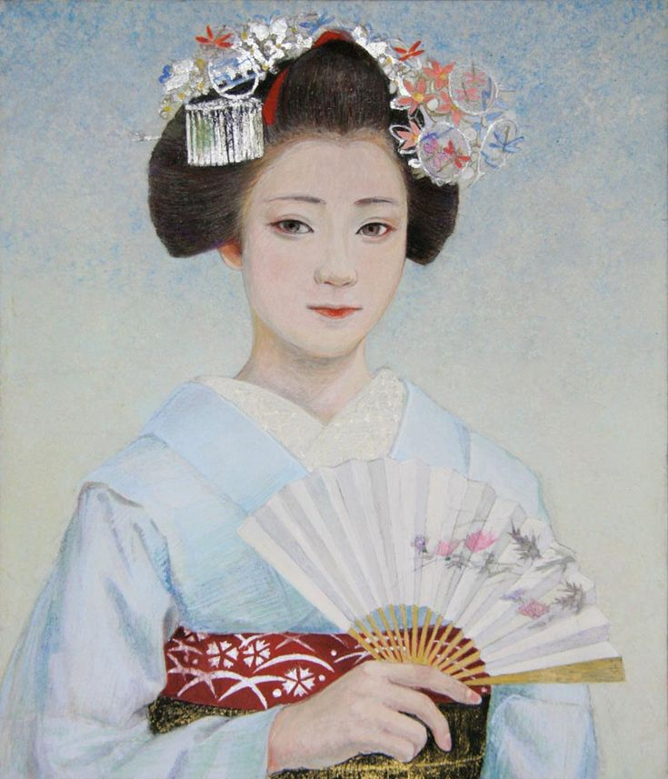 """Maiko Maiko """"Gion Festival"""" gion festival Japanese paintings on paper NIHONGA mineral pigments foil No. 10 F (53 × 45.5 cm) japanese paintin ..."""