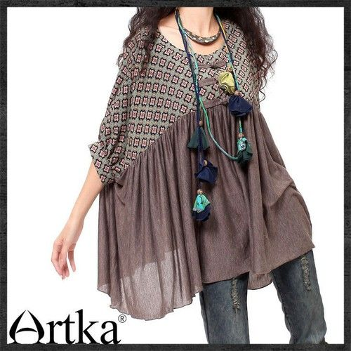 Artka Unique Ethnic Half-sheer Patchwork Batwing Loose Blouse SA10130C Taro Purple