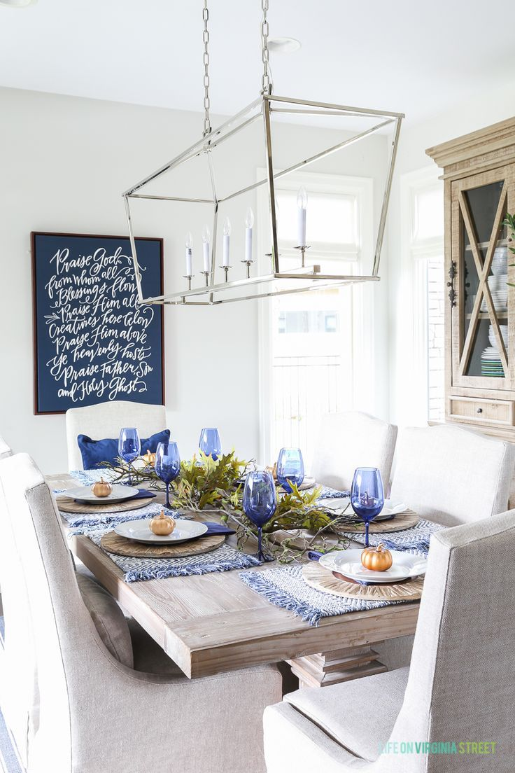 A unique blue Thanksgiving tablescape, and also share where I'm willing to splurge versus save when it comes to creating tablescapes. Get the full look! #Pier1Imports #Sponsored #homedecorideas #falldecor
