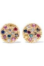 Looking Glass 18-karat gold, sapphire and diamond earrings