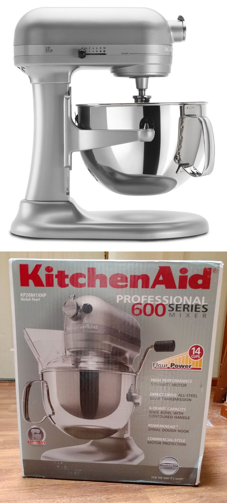 Small Kitchen Appliances: Kitchenaid 6 Quart Professional 600 Mixer Nickel Pearl New In Box 575 Watt -> BUY IT NOW ONLY: $275 on eBay!
