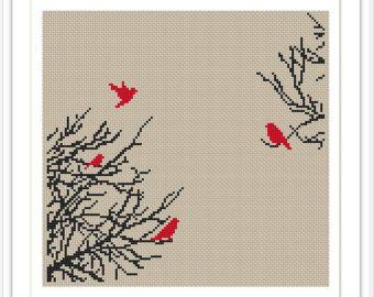 Tree Silhouette 8JM5 Cross Stitch Pattern Instant от AprilBeeShop