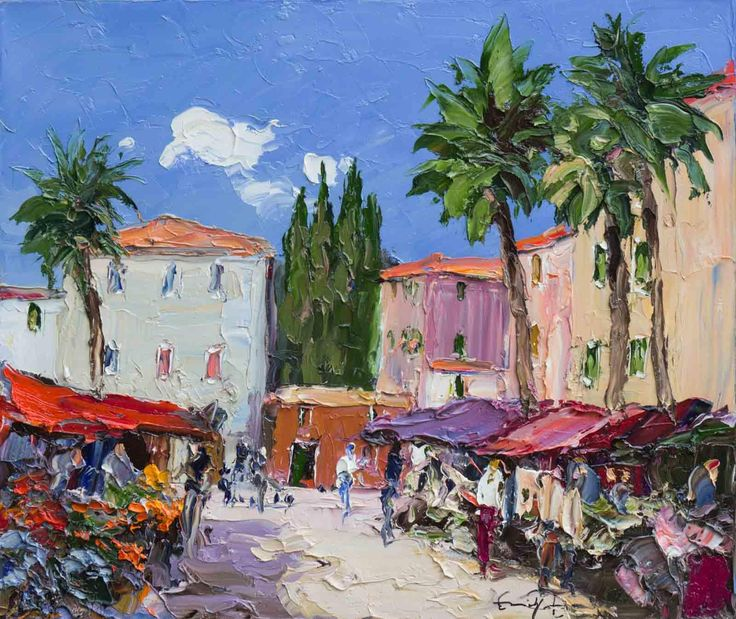 Artwork Name: Market Square. Artist: Erich Paulsen. Size: 24 x 20. Medium: Oil on Canvas.