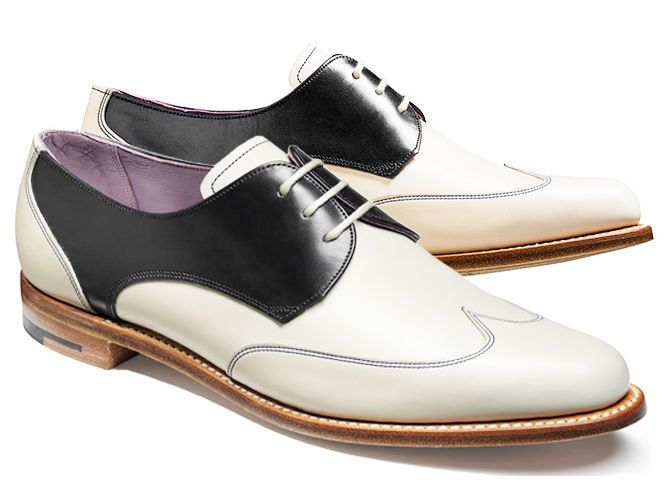 Men's Two tone wingtip spectator dress shoes, Men formal shoes black white - Dress/Formal