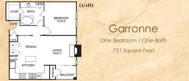 Garronne One Bedroom Apartment in Arlington TX