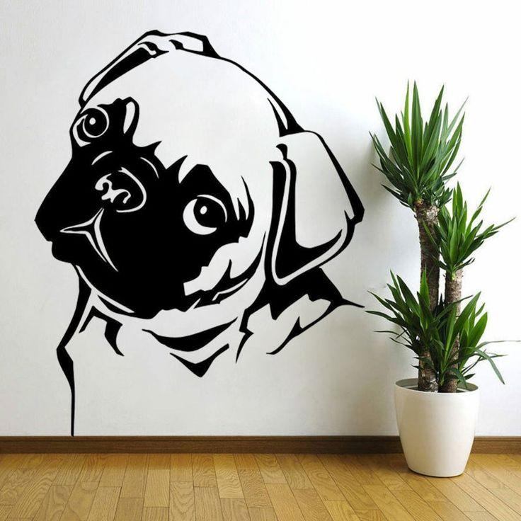weiße Wandfarbe mit Wandsticker in Schwarz Hund nur Konturen