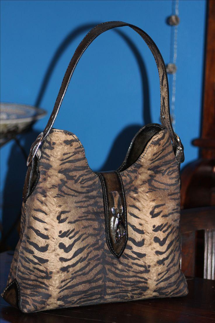 tigerprint suede/leather bag