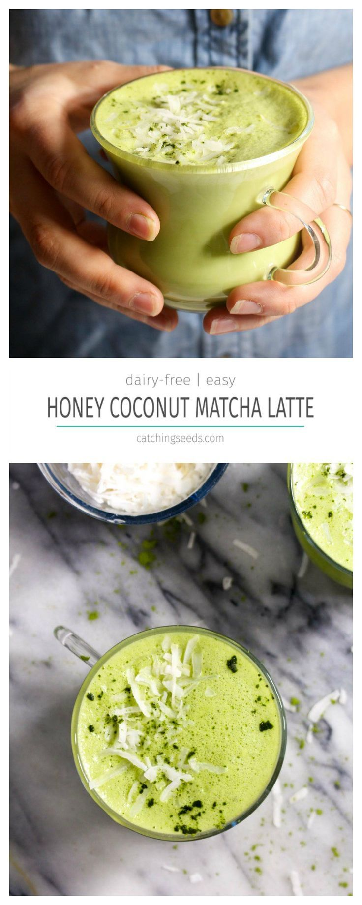 This matcha latte has a secret ingredient to avoid the caffeine jitters. A quick and easy 5 ingredient and 2 step recipe! Ready in 5 minutes!: http://www.catchingseeds.com/honey-coconut-matcha-latte/