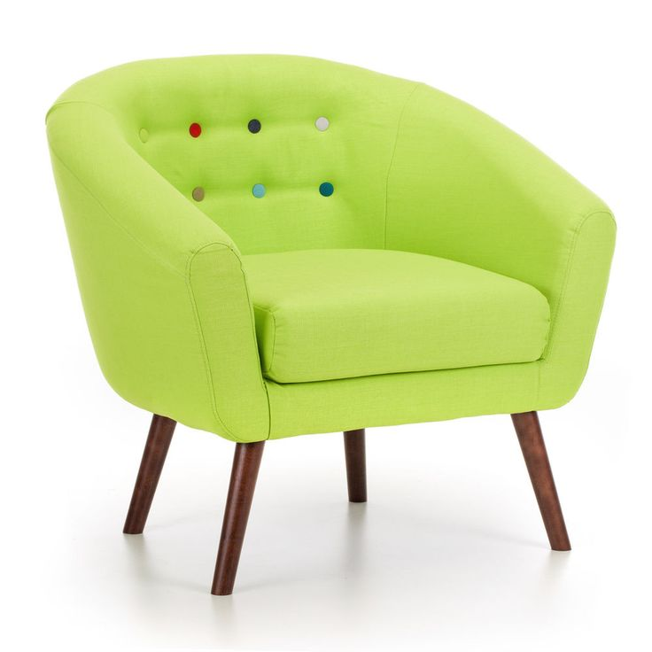 Modern Wooden Armchair Chair Lime Fabric Foam Furniture Small Living Room Wood