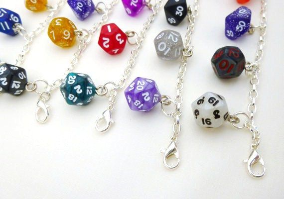 Mini Rainbow Dice Bracelet, D&D, Charm Bracelet, Dice Set, Dungeons and Dragons, dice jewelry, geek, geeky, DND, geekery by EcceRose on Etsy https://www.etsy.com/listing/167587168/mini-rainbow-dice-bracelet-dd-charm