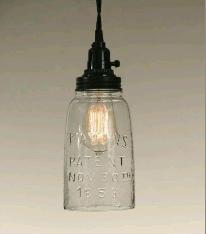 New Primitive Farmhouse Chic HALF GALLON MASON JAR PENDANT LIGHT Hanging Lamp  #Country
