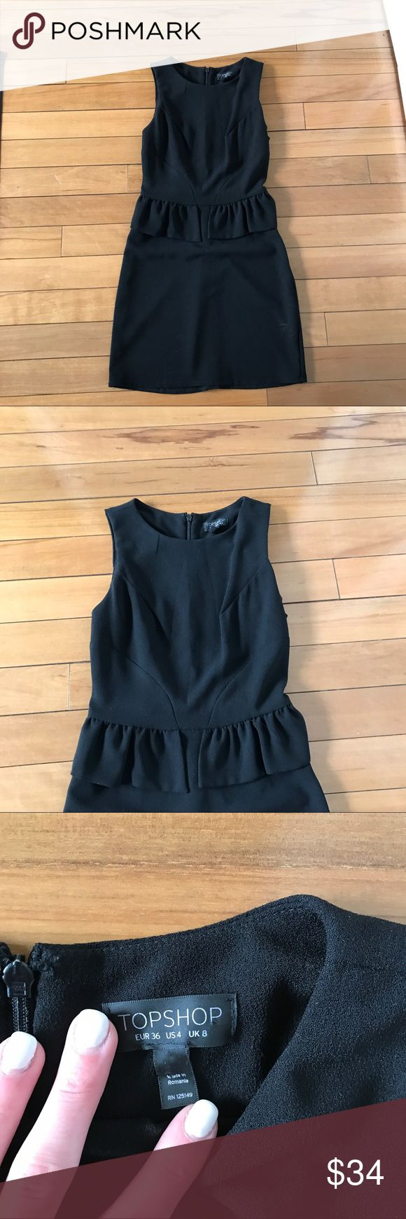 Topshop Black Peplum ruffle Dress Topshop black ruffle peplum Sleeveless mini dress. Size4! 33 inches from shoulder to hem. Zips up in back. Excellent used condition! Topshop Dresses Mini