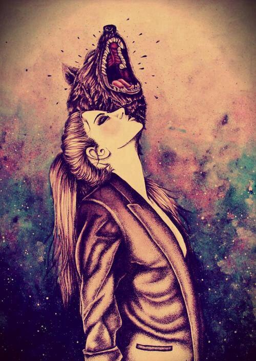 Wolf/girl/galaxy/imagine