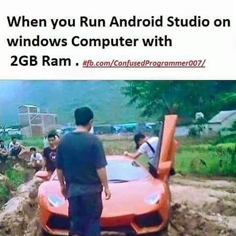 Emmg nyiksa bngt dah klo ngebuild apps di android studio apalagi di OS Windows :v #linuxgeek #linuxuser #linux #windowsuser #windows #android #androidstudio #java #programmer #programmergeek #mobiledevelopment #mobile #sqlite #mysql #nosql #mongodb #webservice #json #indonesia #morning #pagi #pemrograman #programming