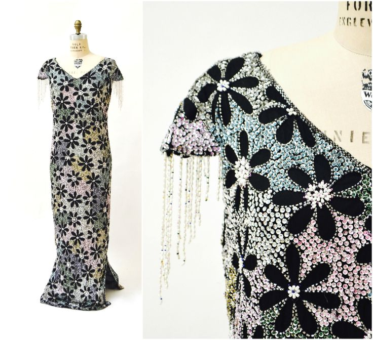Vintage Beaded and Sequin Evening Gown Dress Size Large XL// Silver metallic Dress With Fringe Flowers Black Plus Size sequin Dress by Hookedonhoney on Etsy