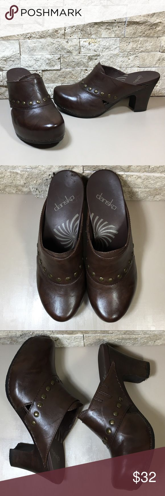 """Dansko Rudy Brown Leather Studded Mule Clog Dansko Rudy brown leather studded mules clogs. Puppy got hungry🐶, right heel has some chew marks, otherwise the rest is in excellent used condition, please see photos. Womens size Euro 38 US 7.5-8, heel height 3.25"""". f1224 Dansko Shoes Mules & Clogs"""