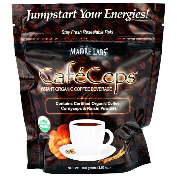 Madre Labs, CafeCeps, Energizing Instant Organic Coffee Beverage, 3.52 oz (100 g)  #coffee #iherb #hotdrinks #drinks #caffeine #energy #shopping #morningdrink #Madrelabs #Madre #Labs #Cafe #Ceps -  Need a coupon?  http://pusabase.com/blog/best-iherb-coupon/