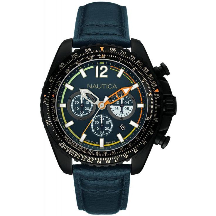NAUTICA Men's Leather Watch