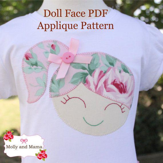Smiling Face PDF Applique Template Girl Boy por MollyandMama