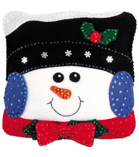 snowman felt pillow