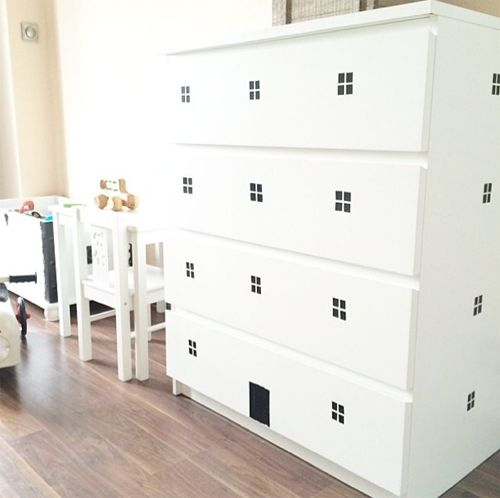 mommo design: IKEA HACKS FOR KIDS - Pimp up your white Malm chest of drawers with black tape and make it into a building!