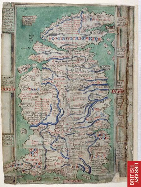 Image of Matthew Paris' map of Great Britain drawn c1250. Matthew Paris was a monk at St Albans Abbey and is the oldest surviving map to show such a high level of detail