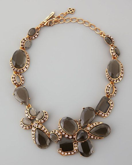 Oscar De La Renta, Grey Flower Crystal Necklace.
