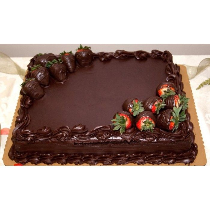 Image Result For Square Chocolate Cake With Strawberries Happy