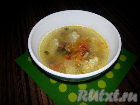 Суп куриный с картофельными ньокки и добавлением горчицы