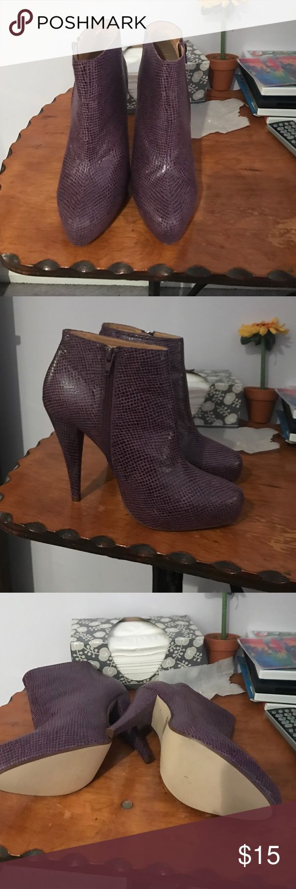 Gorgeous purple Enigma boots These are re-posh but I never wore them bc they didn't fit n they arrived in basically brand new condition so I know they will find new owner as excited as I was when I first saw them. - feel free to make offer! Enigma Shoes Ankle Boots & Booties