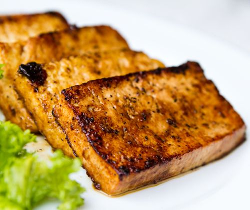 Here's my go-to recipe for easy seared tofu – mildly sticky, sweet, savory — with caramelized edges.