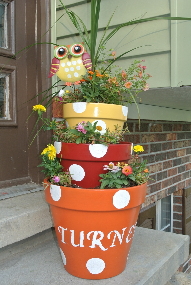 Stacked polka dot Flower Pot