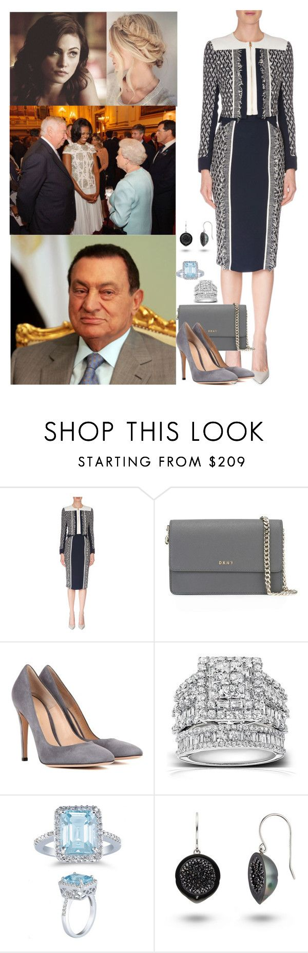 """""""ROYAL TOUR #19: Egypt Day 3, Meeting with Egypt's President, Hosni Mubarak"""" by hrh-princess ❤ liked on Polyvore featuring Roland Mouret, DKNY, Gianvito Rossi, Kobelli and Apples of Gold"""