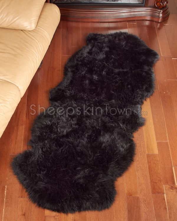 Double Black Sheepskin Rug   2 Pelt (2x6 Ft)