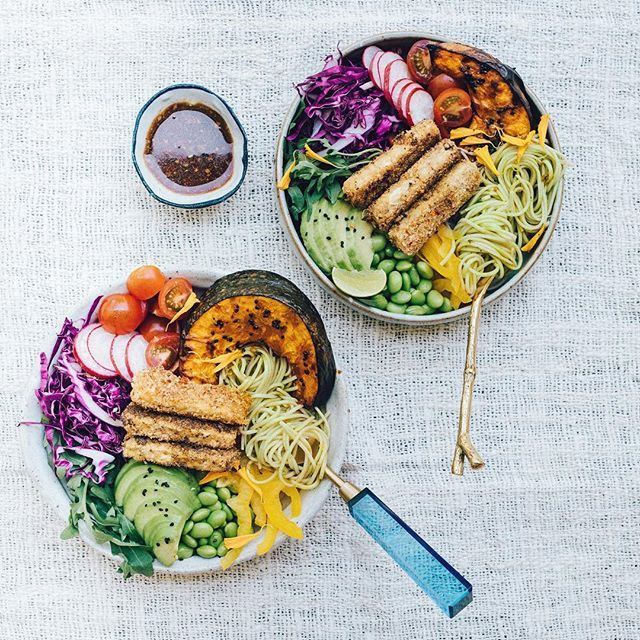 Bowls of goodness  I have adapted the 'Soba Noodle Salad with Roasted Pumpkin' recipe from page 124 of my cookbook, adding extra rainbow  veggies, and some 'katsu' style crumbed tempeh •  #eatmoreplants  #eattherainbow  #elsaswholesomelife  Edited with my FD2 lightroom preset