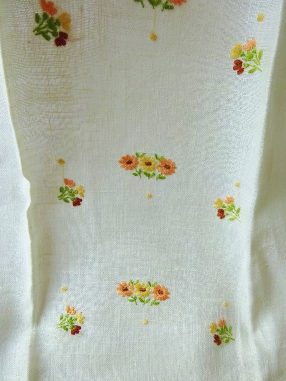 Kitchen Towel Linen Cream With Delicate Flowers by vintagelady7
