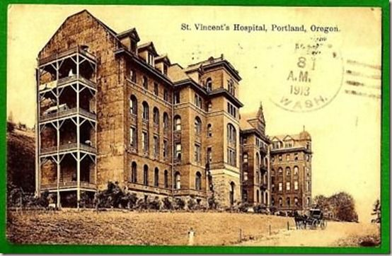 St. Vincent's Hospital. Portland, Oregon. 1913. Still admitting patients into the 1960s, when it was torn down for condos.