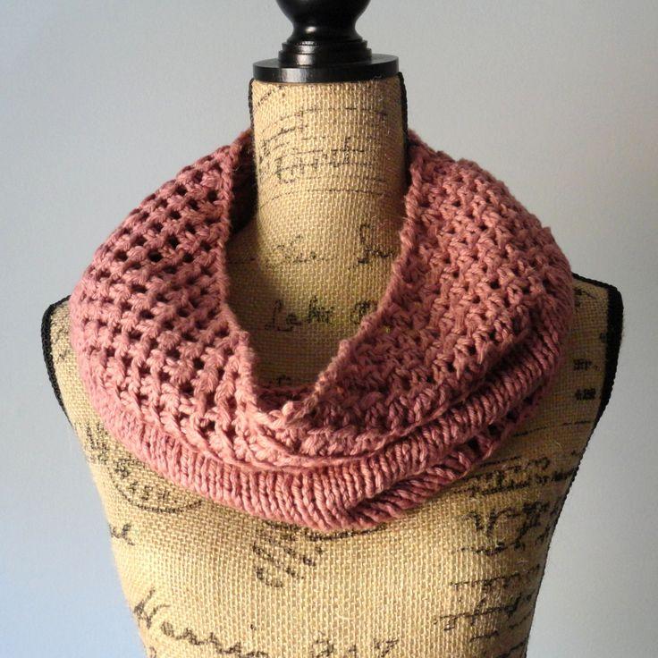 free pattern Irish Mesh Cowl in Tea Rose - Purl Avenue Free Knitting Patter...