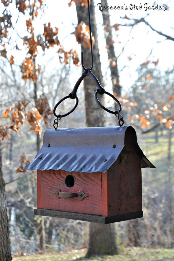 "Rustic Hanging Birdhouse ~ ""The Barn"""