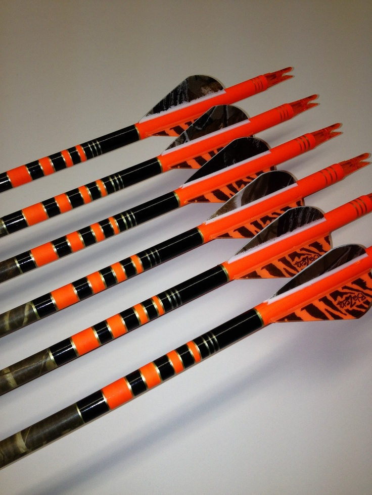Custom black and flo orange Gold Tip custom arrows